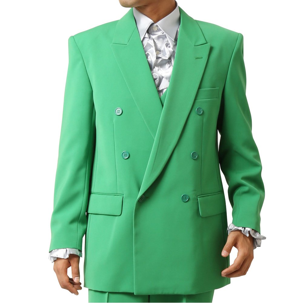 メンズ 6つボタン ダブル カラー スーツ ツータックパンツ 上下セット カラー:グリーン