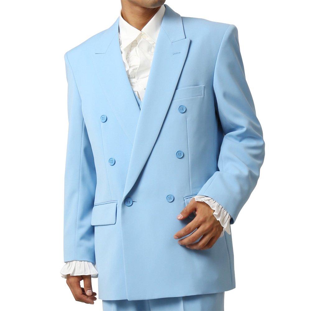 メンズ 6つボタン ダブル カラー スーツ ツータックパンツ 上下セット カラー:サックス