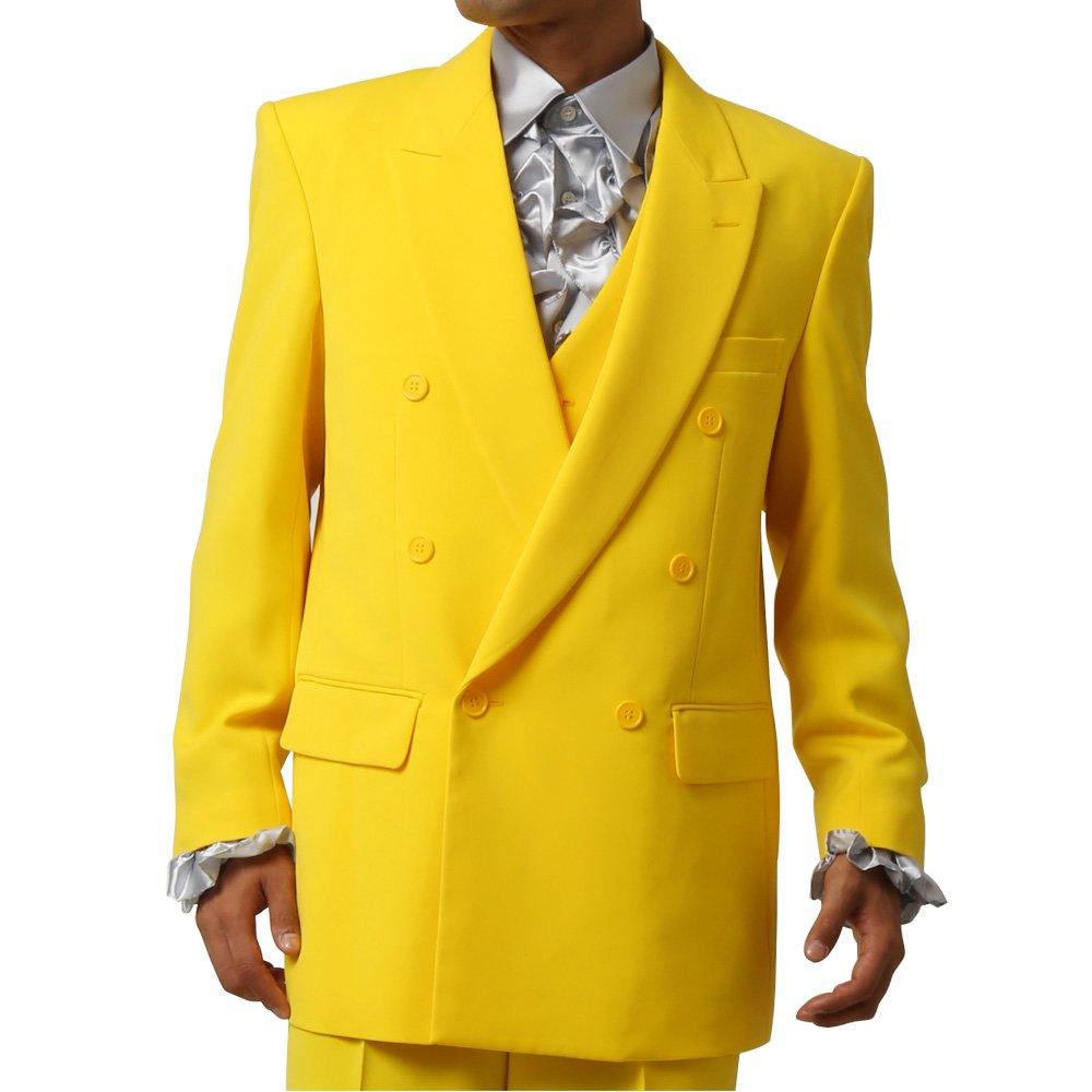 メンズ 6つボタン ダブル カラー スーツ ツータックパンツ 上下セット カラー:イエロー
