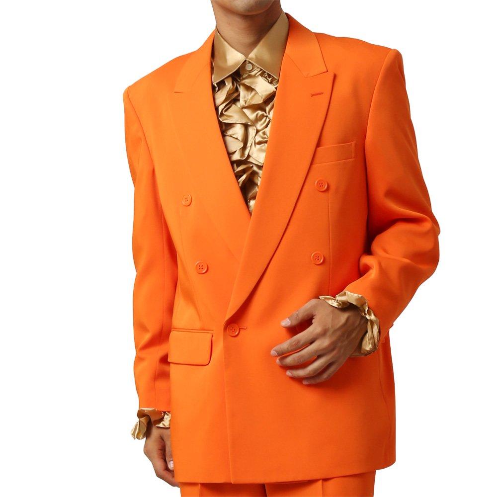 メンズ 6つボタン ダブル カラー スーツ ツータックパンツ 上下セット カラー:オレンジ