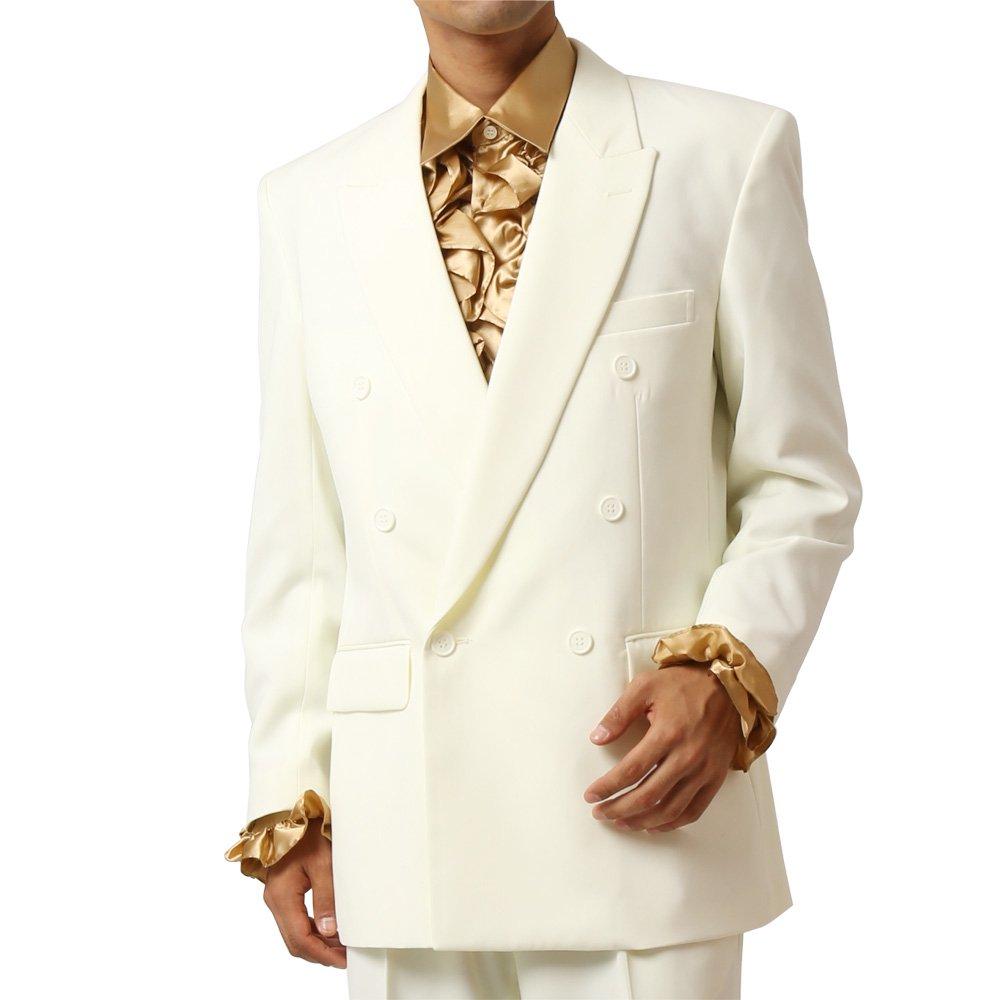 メンズ 6つボタン ダブル カラー スーツ ツータックパンツ 上下セット カラー:クリーム