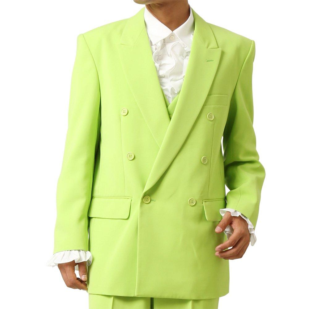 メンズ 6つボタン ダブル カラー スーツ ツータックパンツ 上下セット カラー:イエローグリーン