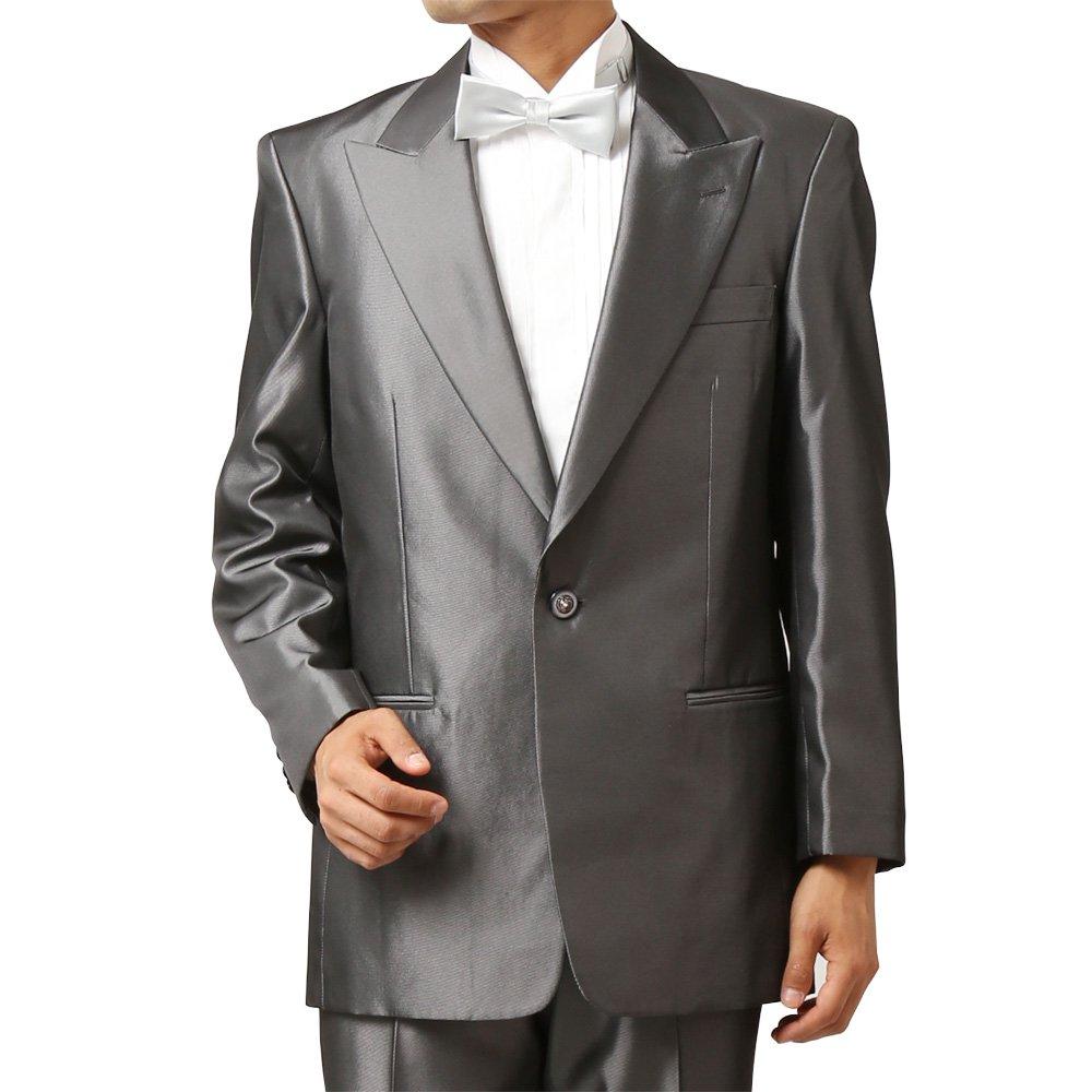 メンズ 1つボタン ピークドラペル シャイニージャケット ワンタック スラックス 上下セット スーツ:ブラック