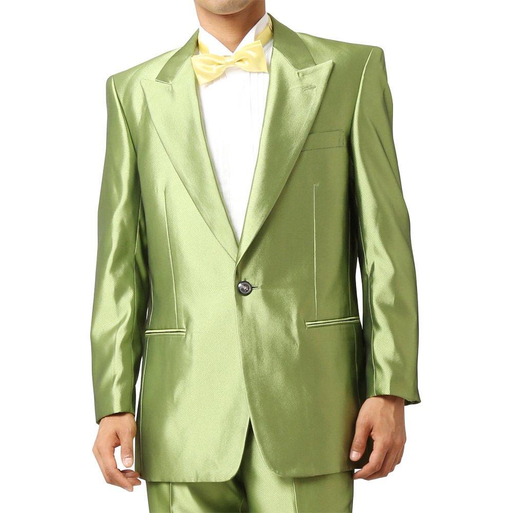 メンズ 1つボタン ピークドラペル シャイニージャケット ワンタック スラックス 上下セット スーツ:グリーン
