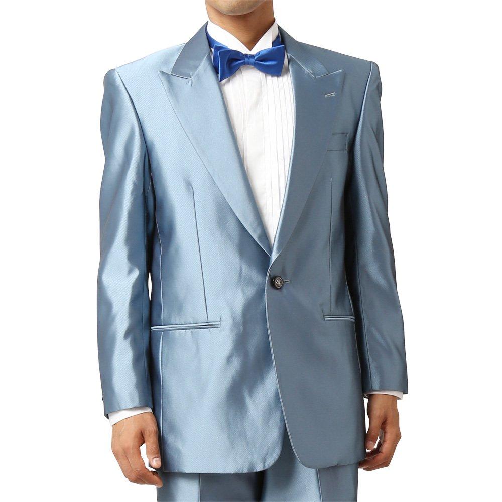 メンズ 1つボタン ピークドラペル シャイニージャケット ワンタック スラックス 上下セット スーツ:サックス
