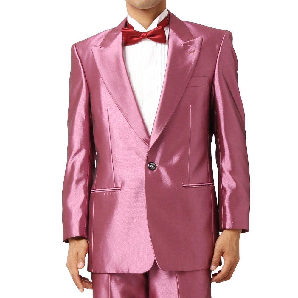 メンズ 1つボタン ピークドラペル シャイニージャケット ワンタック スラックス 上下セット スーツ:ピンク