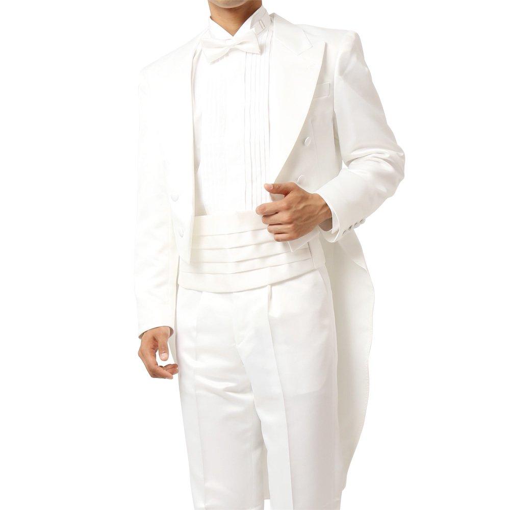 メンズ 燕尾ジャケット ワンタックスラックス 上下セット スーツ :ホワイト