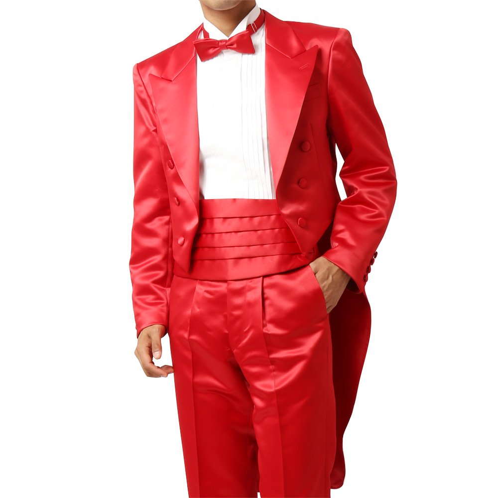 メンズ 燕尾ジャケット ワンタックスラックス 上下セット スーツ :レッド
