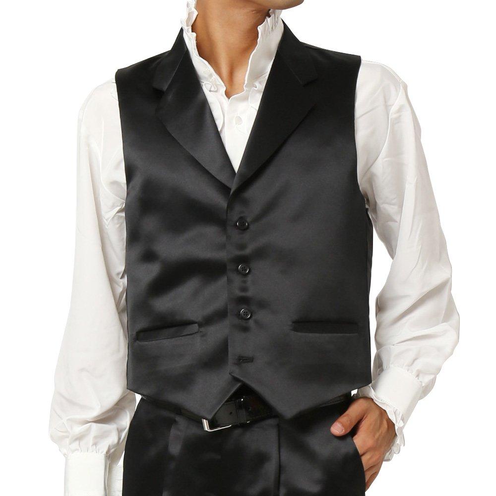 襟付きサテンベスト メンズ 衣装|カラー:ブラック