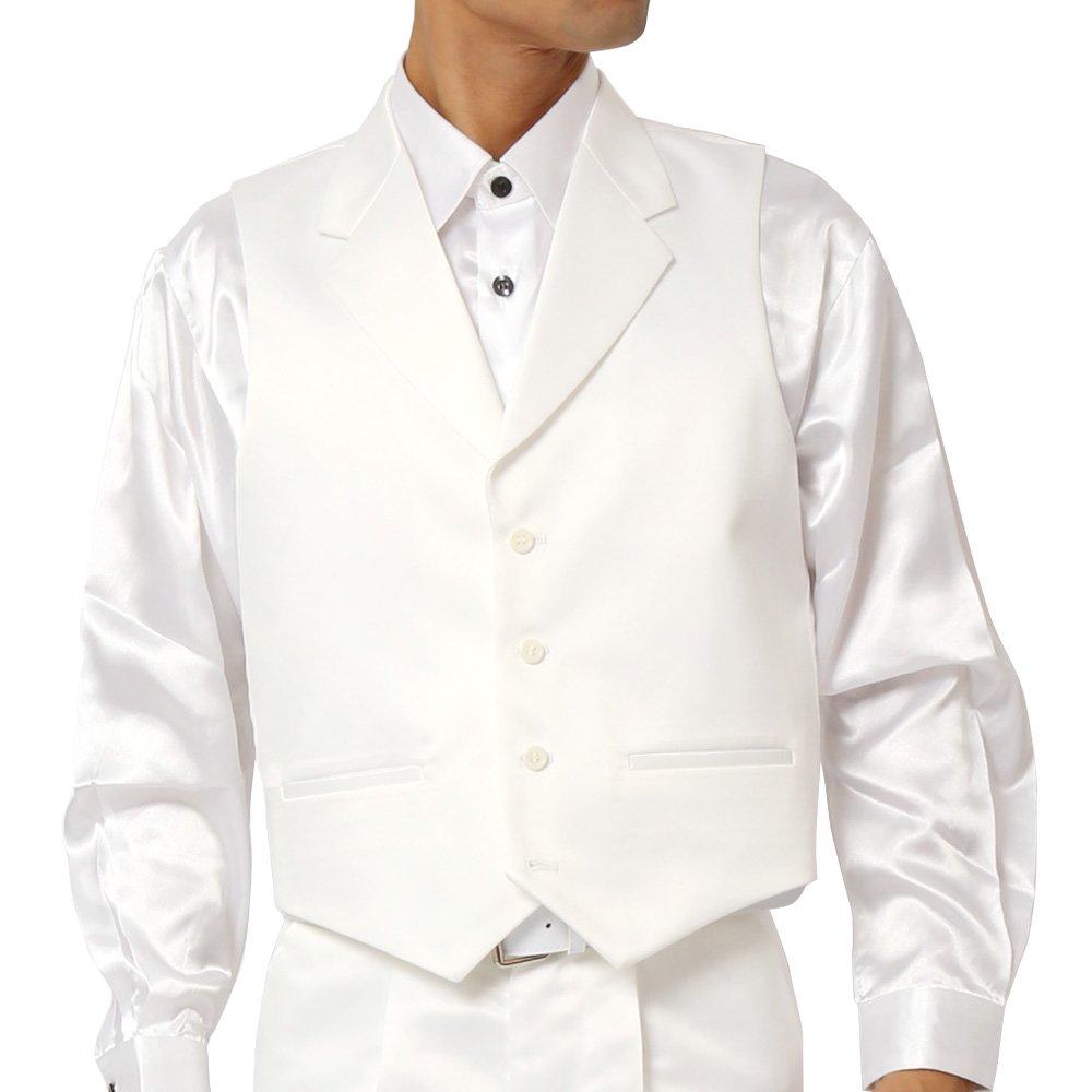 襟付きサテンベスト メンズ 衣装|カラー:ホワイト