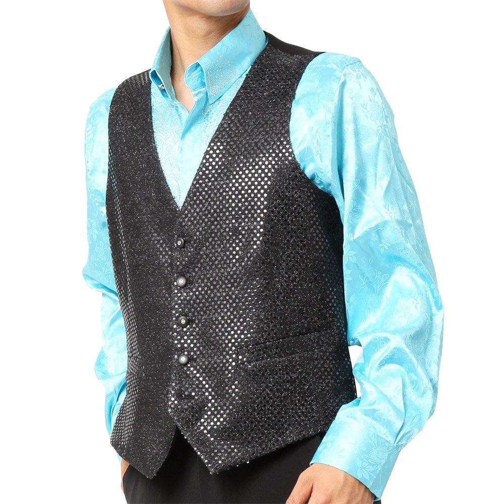 スパンコール ジレ ベスト 男女兼用 衣装|カラー:ブラック