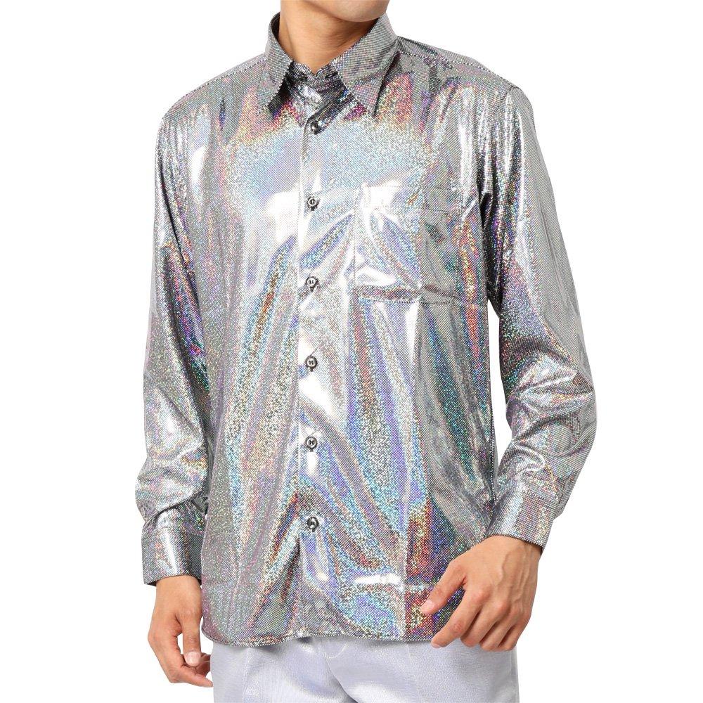 ラメ素材 長袖 ドレスシャツ 男女兼用 衣装|カラー:ブラック