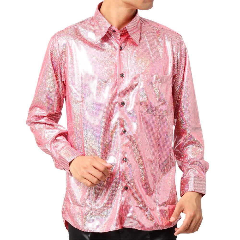 ラメ素材 長袖 ドレスシャツ 男女兼用 衣装|カラー:ピンク