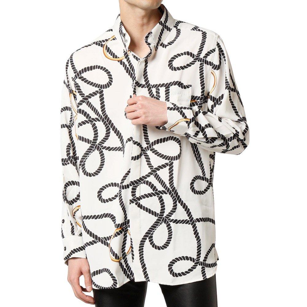 ロープ柄 サテン スナップダウン ドレスシャツ 男女兼用 衣装|カラー:ホワイト