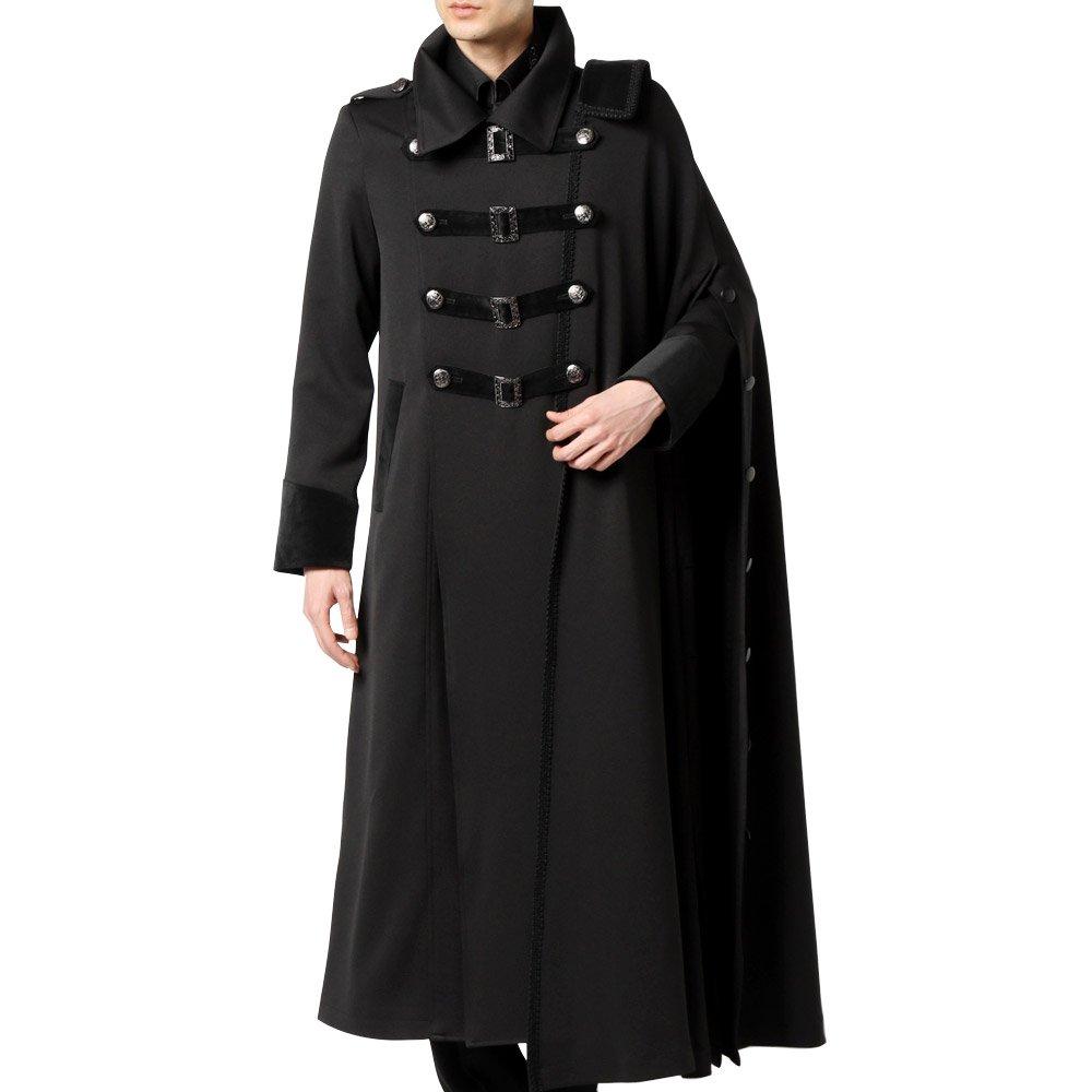 マキシ丈 マント付き ナポレオン ロングコート 男女兼用 衣装|カラー:ブラック