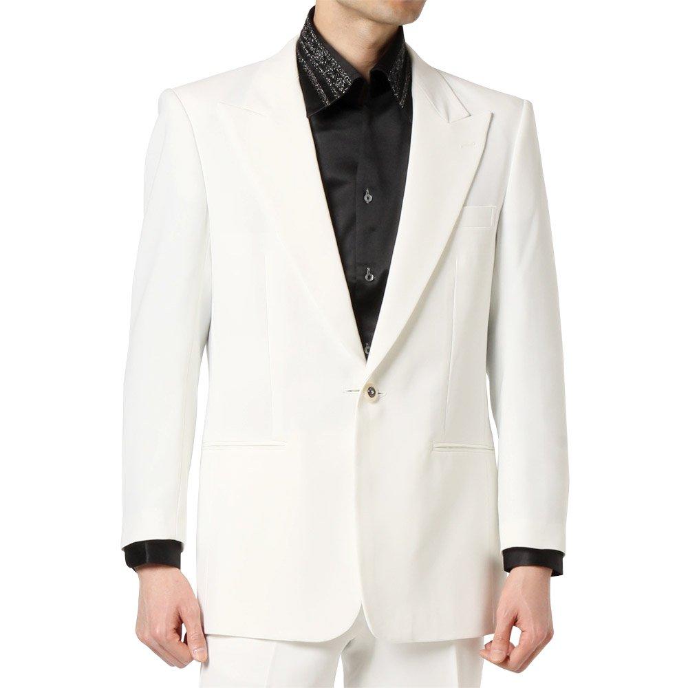 デザインボタン ピークドラペル 1つボタンテーラードジャケット 男女兼用 衣装|カラー:ホワイト