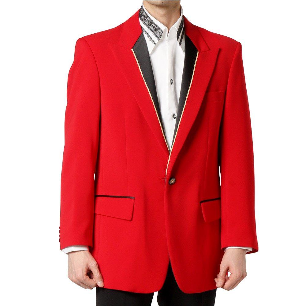 シングル 1つボタン衿切替ジャケット 男女兼用 衣装|カラー:レッド