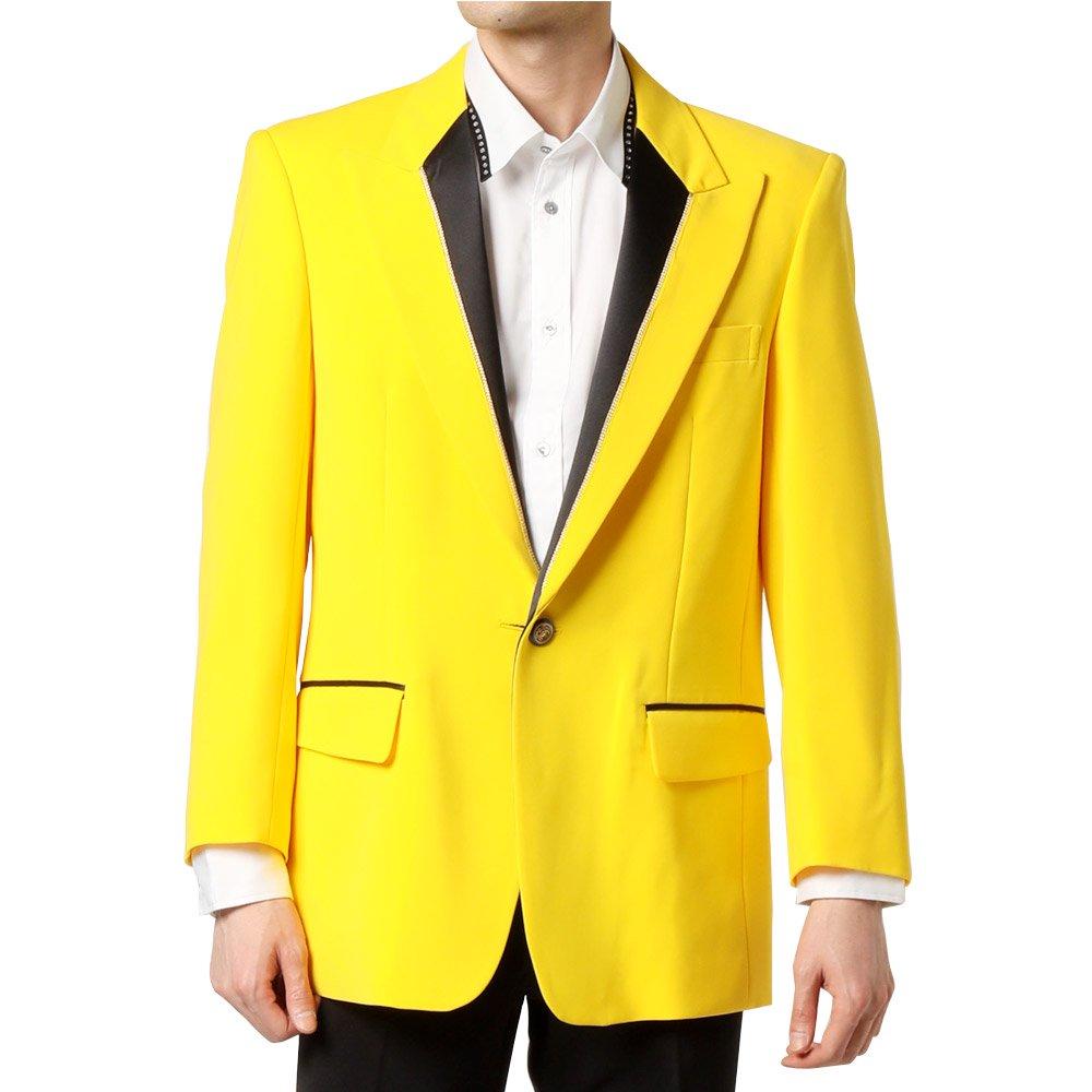 シングル 1つボタン衿切替ジャケット 男女兼用 衣装|カラー:イエロー