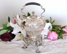 【純銀】1906年 リボン装飾のティーケトル&スタンド