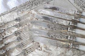 【純銀】1890年 白蝶貝ハンドルのデザートカトラリー6組 MH&Co