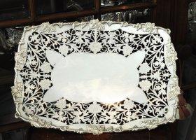 【純銀】透かしの脚付き大サイズ トレー(長方形) 幅31.5cm