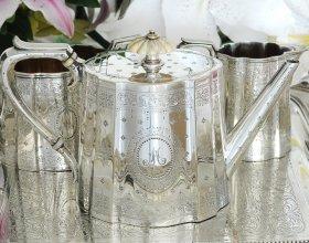 英国アンティーク【シルバープレート】1873年 バッチェラーティーセット+トレー全4点セット Elkington&Co