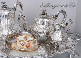 英国アンティーク銀器【シルバープレート】1873年 ティーサービス 4点 Elkington&Co(エルキントン)     <MD有>
