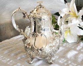 英国アンティーク銀器【シルバープレート】c.1850 ルイスタイル コーヒーポット  バーナード