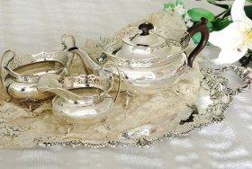 英国アンティーク銀器【純銀】1921年 透かしリムのティーセット Elkington&Co     超美品