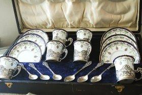 英国アンティーク銀器【純銀】C&S 6客+美装飾ティースプーンセット William Comyns
