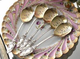 仏アンティークシルバー【銀950】リボンのアイスクリームスプーン2本 G. VEYRAT<在庫2本のみ>