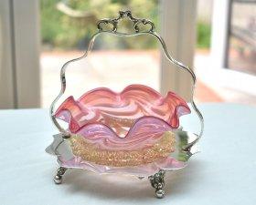 英国アンティーク銀器【シルバープレート】ピンクのグラスのジャムディッシュ