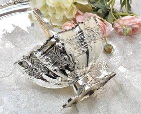 英国アンティーク銀器【シルバープレート】美装飾シュガーバスケット