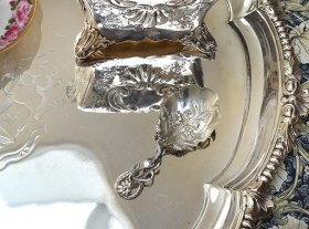 英国アンティーク銀器【純銀】1852年 キャディースプーン ◆リペア有◆
