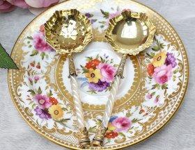 英国アンティーク銀器【純銀】白蝶貝ジャムスプーン&シフタースプーン