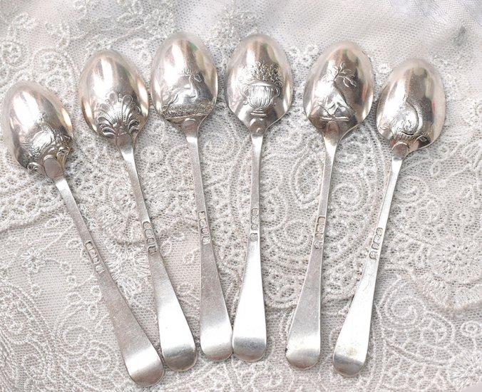 英国銀器【純銀】ピクチャーバックのティースプーン 6本セット