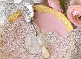 英国アンティーク銀器【純銀】1898年 白蝶貝ハンドルのキャディースプーン◆William Devonport
