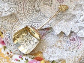 英国アンテイーク銀器【純銀】1892年 キャディースプーン
