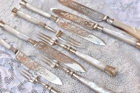 英国銀器【純銀】白蝶貝ハンドルのデザートカトラリー4組8本◆両面彫