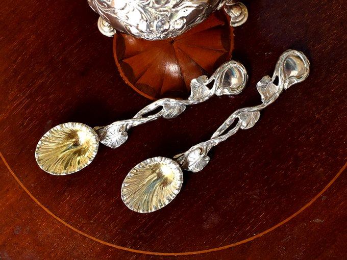 英国アンティーク銀器【純銀】1835年 ソルトスプーンペア William&Anne Bateman