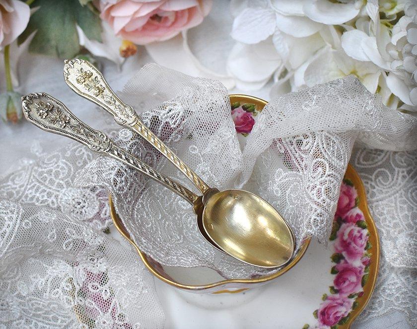 仏アンティーク銀器【銀950】ヴェルメイユの美装飾ティースプーン2本セット 58g Odiot