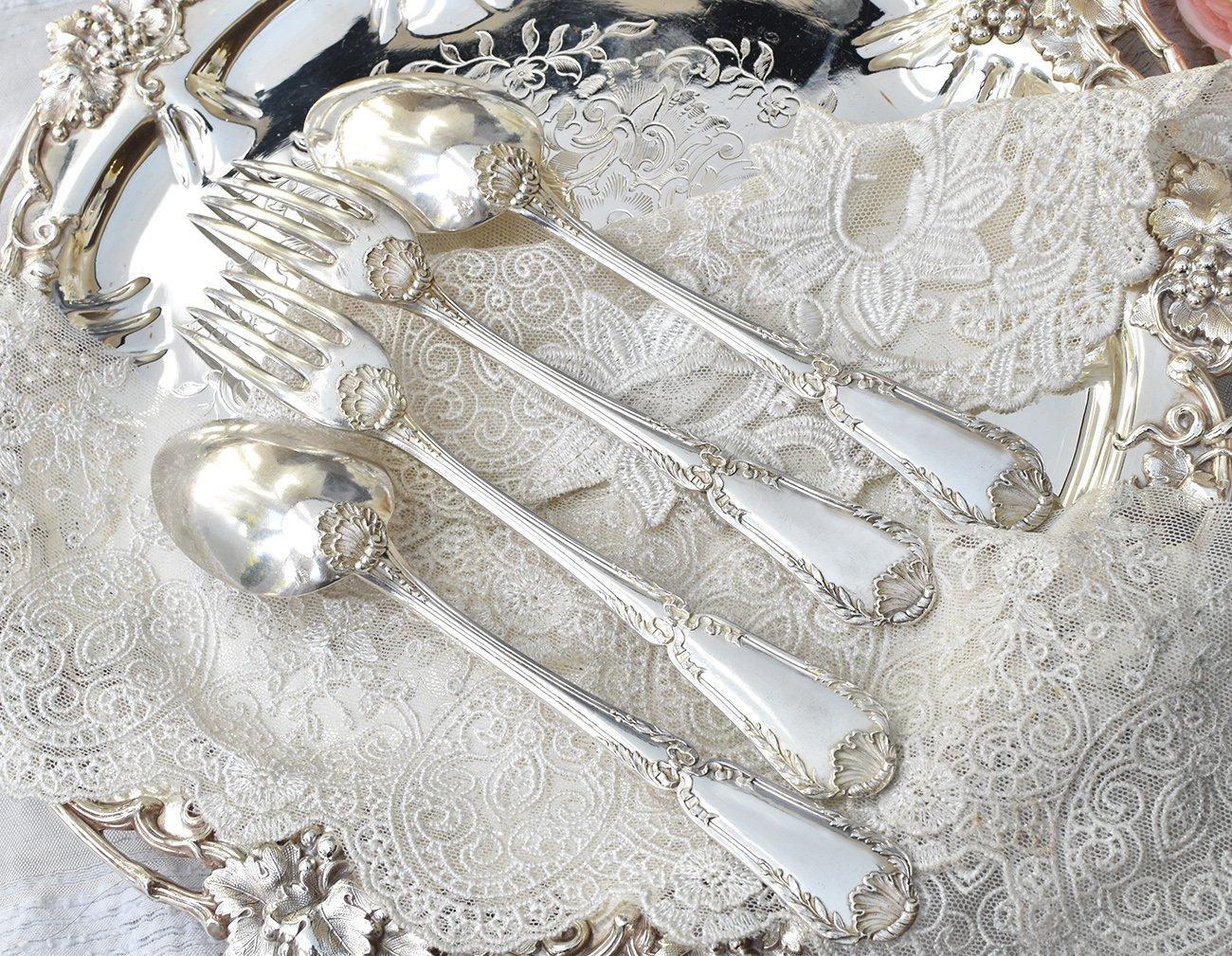 仏アンティーク銀器【銀800】ピュイフォルカ ポンパドゥール ディナーカトラリー2組