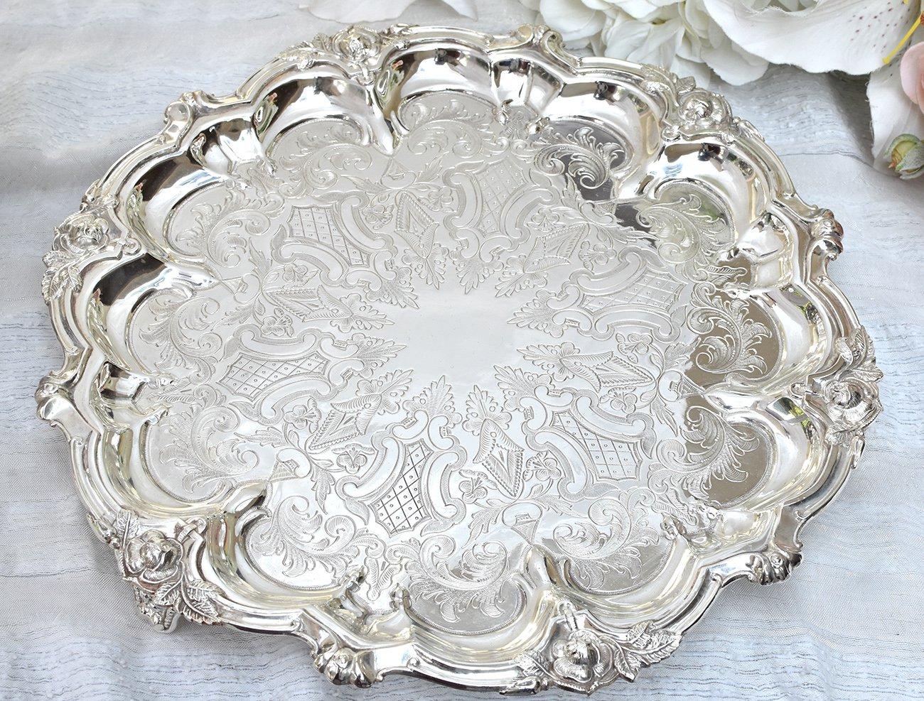 英国アンティーク銀器【シルバープレート】c.1890 薔薇のサルヴァ