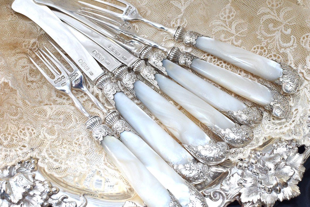 英国アンティーク銀器【純銀】1899年 美フェルール白蝶貝デザートカトラリー4組◆白蝶貝に傷あり