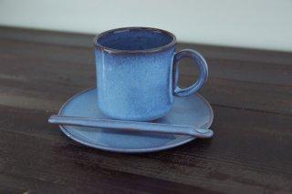 コーヒーカップ&ソーサー 青/白