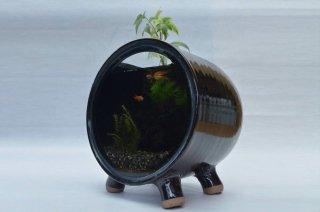 円型陶器水槽 -大  (青,白緑,赤,黒)-アクアリウム