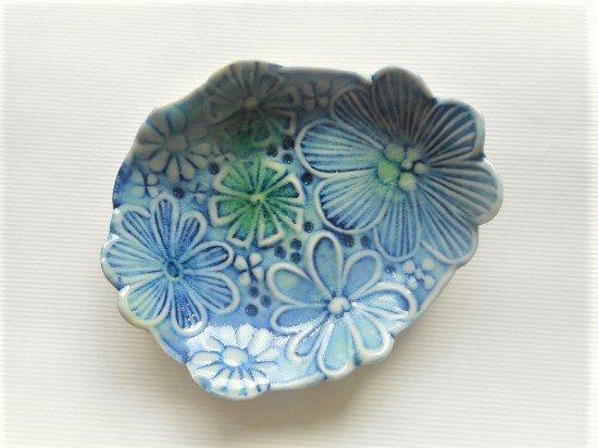 TOMI-kobo 青いお花の小皿