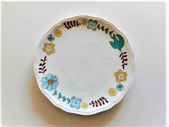 ハレクタニ 花と鳥 プレート(ブルー)