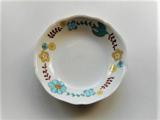 ハレクタニ 花と鳥 ボウル(ブルー)