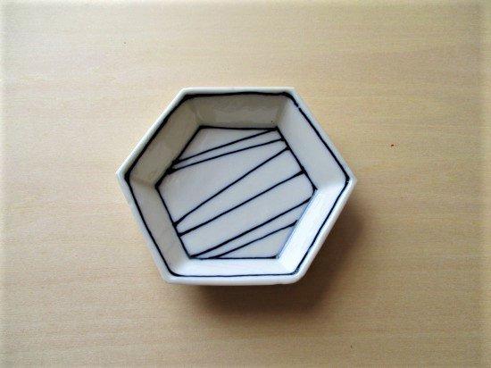 百々堂磁器製造所 磁器染付六角小皿(Iーイ)